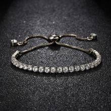 2/3/4mm Fashion Charm CZ Tennis Bracelet Men Women Colorful Zircon Jewelry Adjustable Gold Silver Color Box Chain Bracelets Gift цена 2017