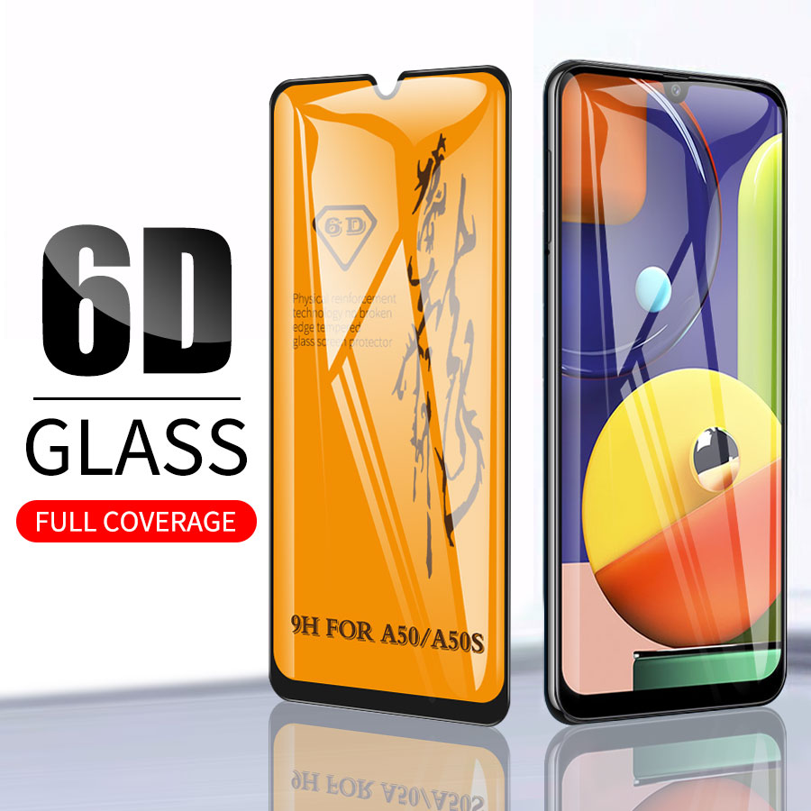 6D Full Glue Cover Premium Tempered Glass For Samsung Galaxy A50 A50s M30s A40 A30 A10s A20 A30 A60 M20 Screen Protector Film