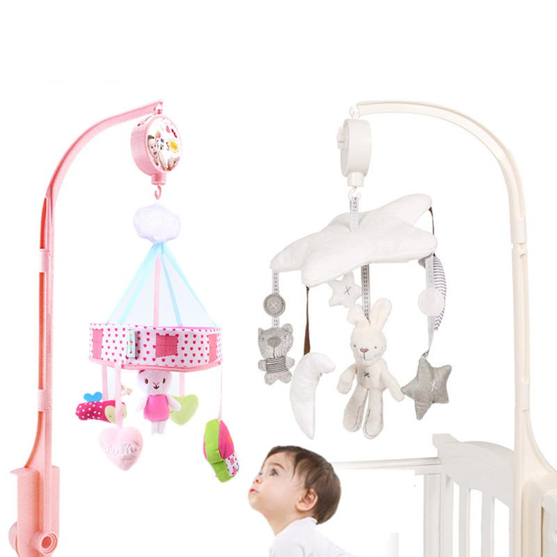 Baby Rattles Crib Mobiles Toy Soft Rabbit Musical Box With Holder Arm Sensory Toys Newborn Rotating Bed Bell Plush Toy