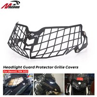 Black Motorcycle Aluminum Headlight Grille Light Cover Protective Guard For Benelli TRK502 TRK 502 Moto Parts