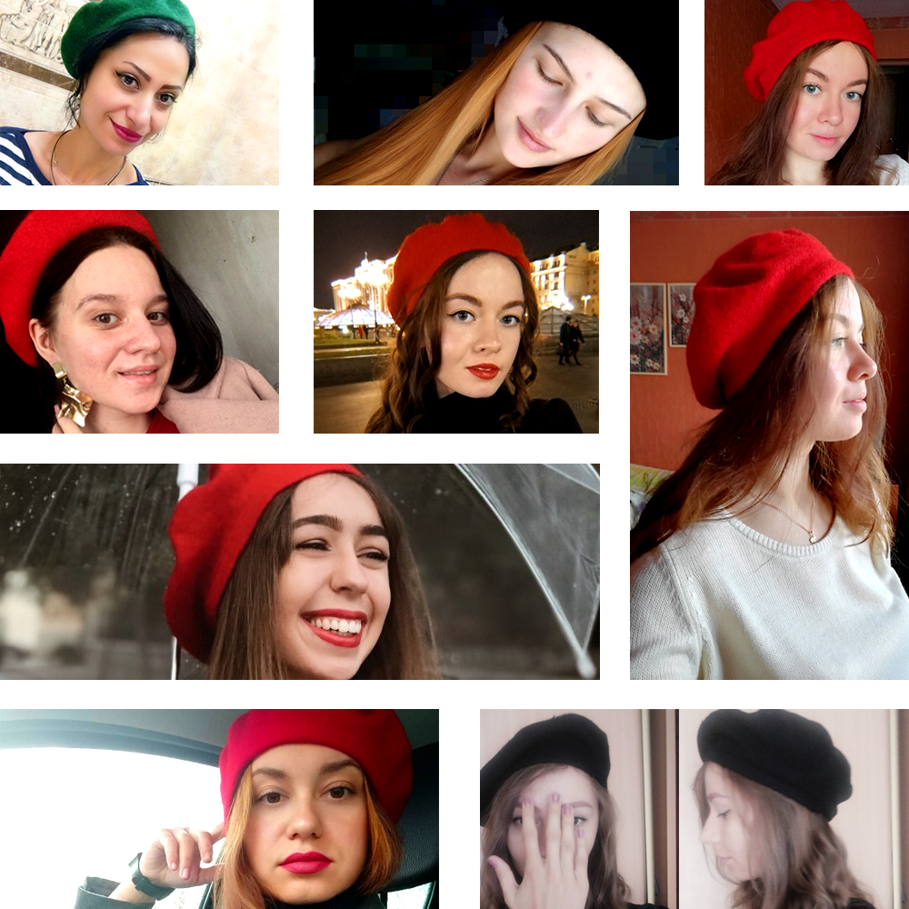 Elegant Lady Women Wool Felt Warm French Classic Beret Beanie Slouch Hat Cap Tam 13