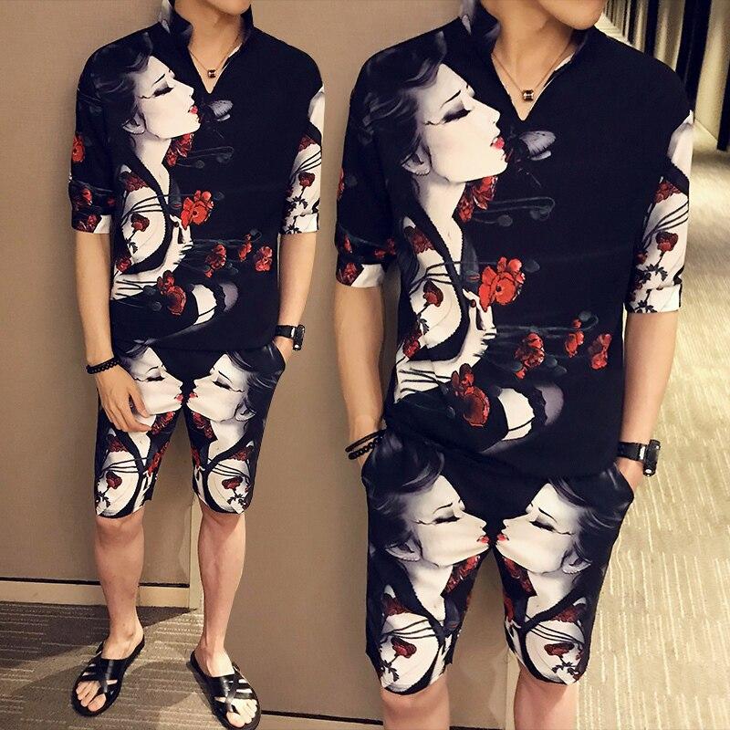 Printing Color 2020 Men Shorts Short-sleeved 2-piece Hot Sale Casual Slim Street Sportswear Two-piece Fashion Trainingspak Heren