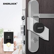 셜록 지문 + 비밀 번호 스마트 도어 잠금 홈 열쇠가없는 무선 블루투스 통합 전자 잠금 App 전화 제어