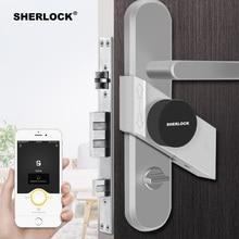 Sherlock fingerprint + senha fechadura da porta inteligente casa keyless sem fio bluetooth integrado bloqueio eletrônico app controle de telefone