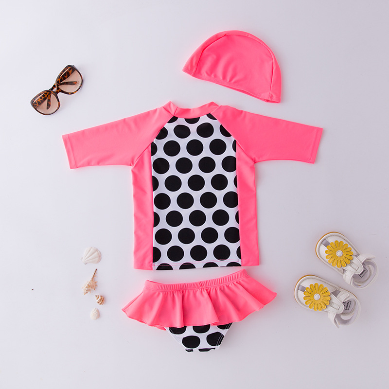Girls' Two-piece Swimsuit Long-sleeved Black Yuandian Dai Hat-KID'S Swimwear Hot Springs Clothing