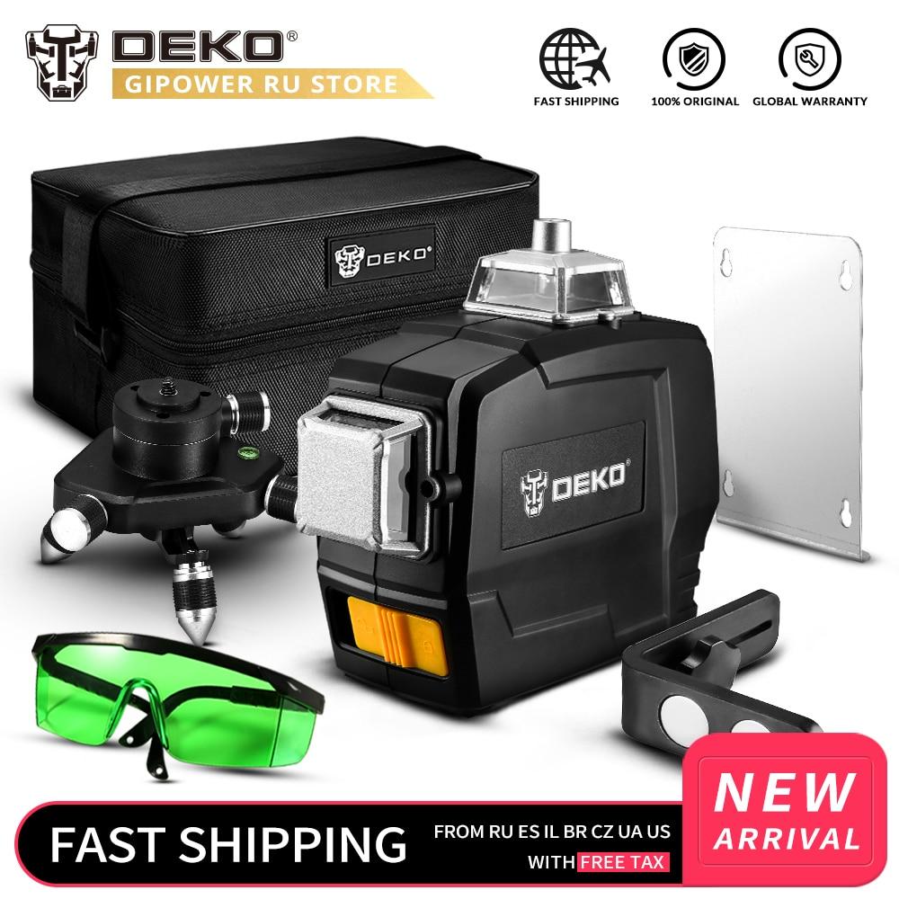 DEKO DKLL12PB1 12 lignes Laser 3D niveau auto-nivelant 360 degrés croix horizontale et verticale faisceau Laser vert Super puissant