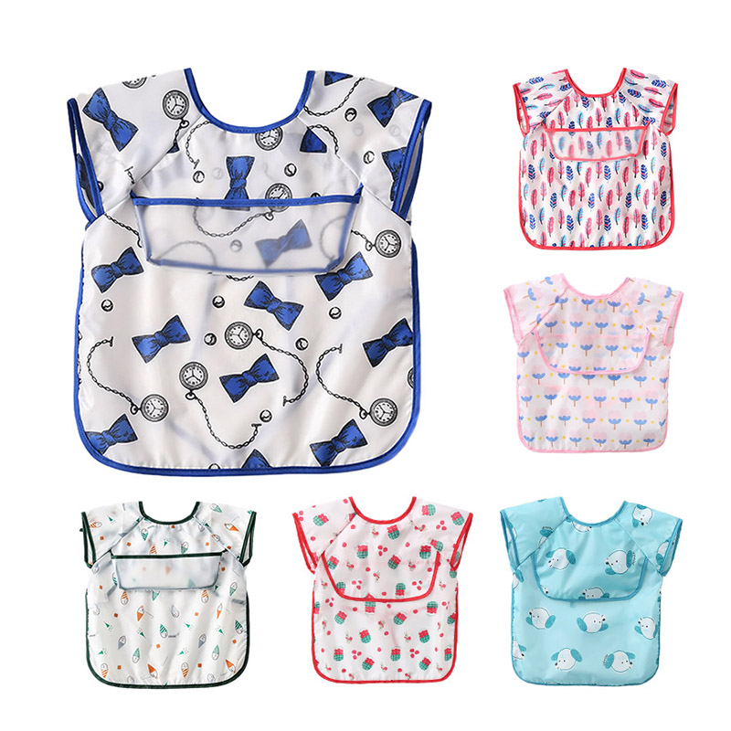 1PC Baby Bibs Waterproof Cover Saliva Towel Clothes Kid Eating Clothing Sleeveless Translucent EVA Bib Feeding Bib Fit 0-4 Years