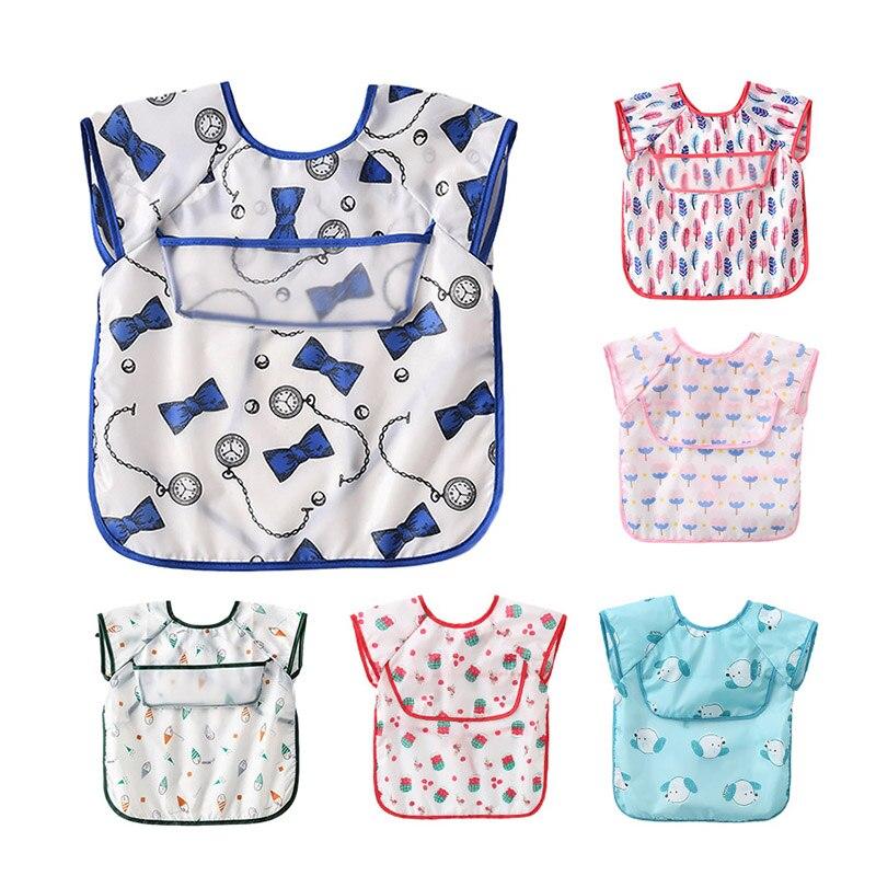 1PC Baby Bibs Waterproof Cover Saliva Towel Clothes Kid Eating Clothing Sleeveless Translucent EVA Bib Feeding Bib Fit 0-4 Years