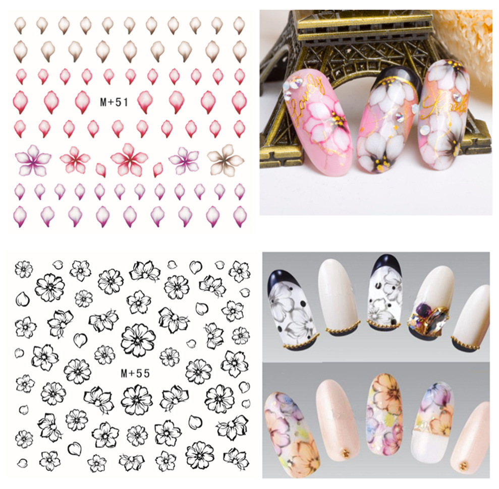 M + 46-55 New Style Japanese Korean Of Watermarking Adhesive Paper Nail Sticker Flower Nail Polish Nail Sticker Nail Ornament