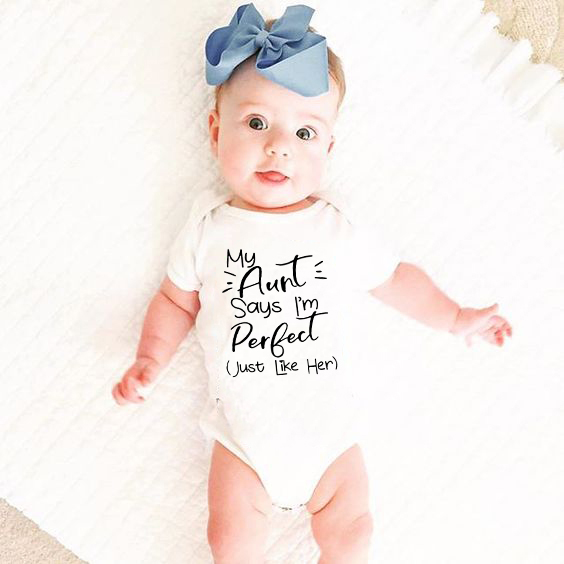 Tiny Cottons Summer 2020 White Onesie My Aunt Says I'm Perfect Letter Print Newborn Bodysuits Summer Auntie Baby Clothes