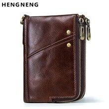 Short Wallet Card-Holder Coin-Purses Male Double-Zipper Men Vintage Rfid