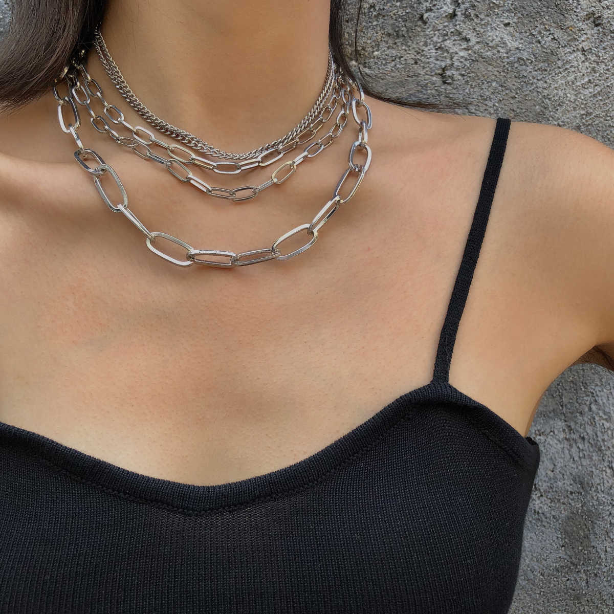 Huture 2PCS Retro Chunky Punk Hip-Hop Costume Jewelry Snake Curb Turnover Heavy Chain Collar Choker Fully Adjustable Necklace Durable Clasp Strong Removable Delicate for Unisex Gift Gold//Silver