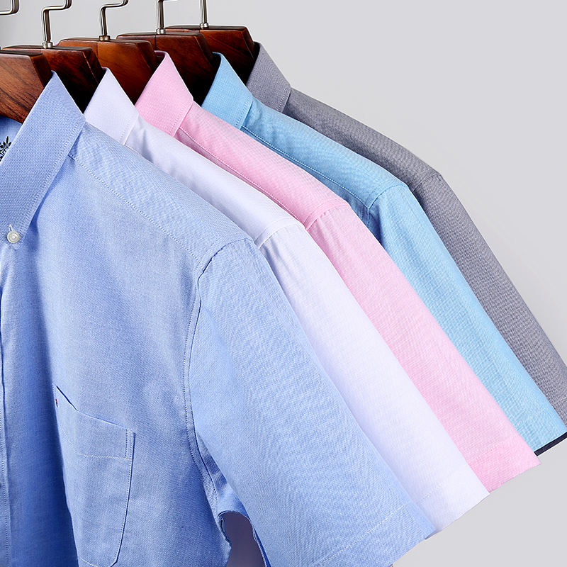 Short sleeve Men's Shirt Summer Button collar oxford fabric slim fit breath comfrotable  fashion business mens casual shirts 4