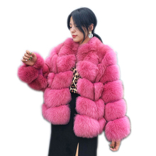 100% real fur coat Women's warm and stylish natural fox