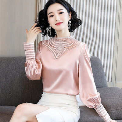 Hollow Out Women Satin Blouses Femme Spring Full Sleeve Satin Tops Lady Office Work Hollow Out Satin Shirts