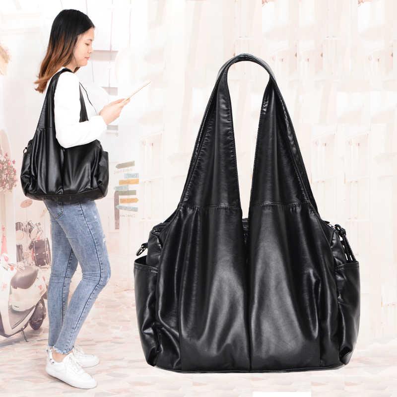 2019 PU hobo Luxus top-griff damen Handtasche Frauen Schulter Taschen weiche messenger satchel Taschen Leder casual tote sac ein haupt