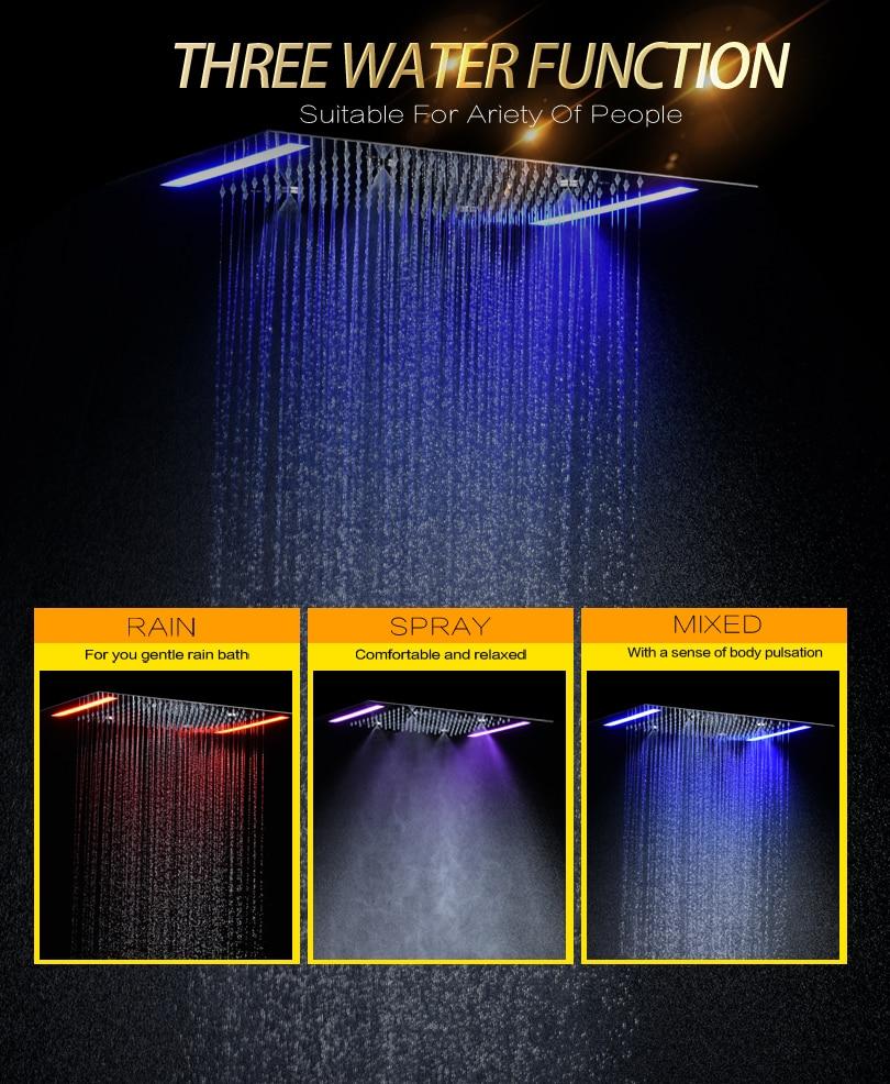 Дождевая и распыляющая душевая головка для ванной 100 В~ 240 В переменный ток светодиодный сенсорный экран контроль для ванной верхний смеситель для душа