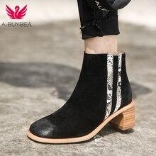 Cow Suede Women Ankle Boots Square Toe High Heels Women Winter Shoes Patchwork Zipper Fashion Women Western Short Boots Ladies недорого