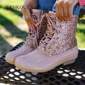 Image 5 - Mắt Cá Chân Giày Nữ Giày Nữ Mùa Đông Giày Boot Bling Đầm Nữ PVC Giày Đi Mưa Thời Trang Botines Mujer 2020