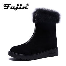 Fujin Thick Bottomed Color Flat Snow Warm Boots Women Booties 2019  New Autumn and Winter England Wind Chelsea