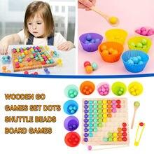 Crianças brinquedos educativos de madeira do enigma do arco-íris clipe contas foco jogo de mesa de madeira ir jogo conjunto de contas de ponto jogo de tabuleiro brinquedo f4 *