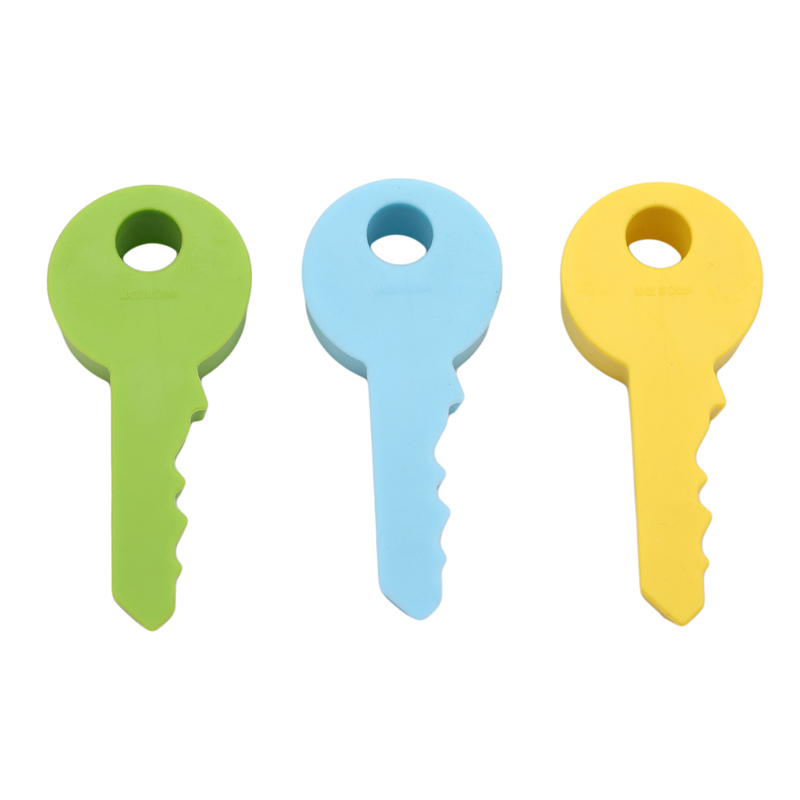4 Colors Cute Key Shaped Silicone Door Stopper Holder Children Kids Good Safety Guard Home Decor Finger Protector