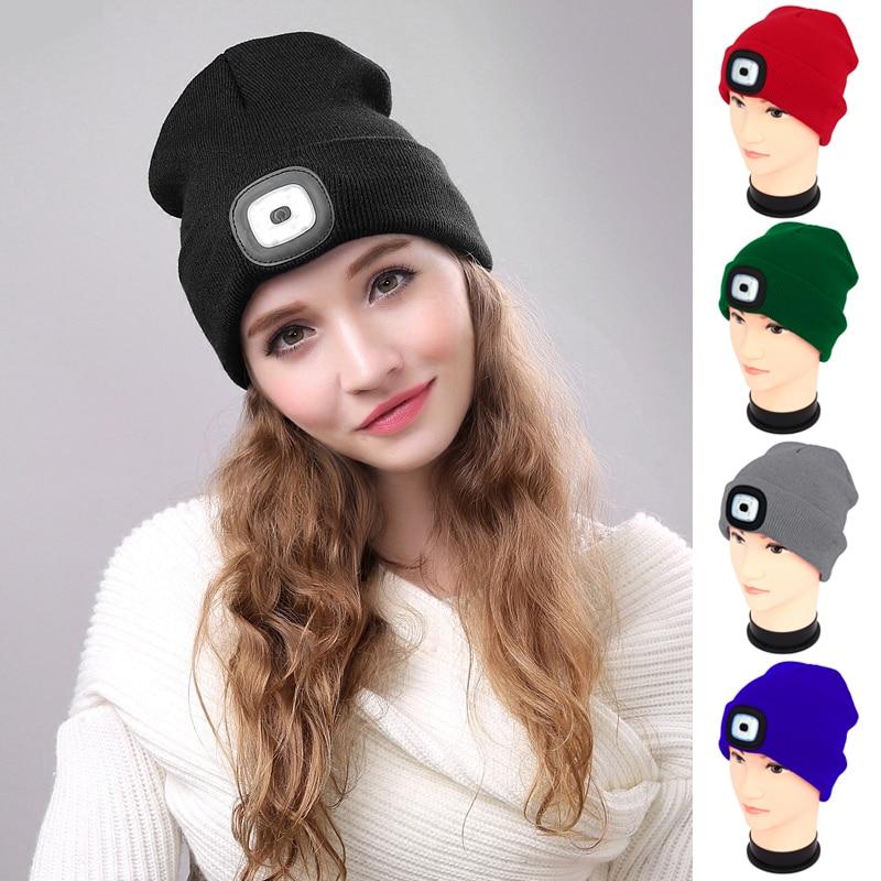 Outdoor Activies Hat 4 LEDs Sports Light Running Knitted Beanie Cap HeadLamp Head Light Flashlight Torch Hat Men Women Hat 2019