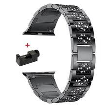 Luxury Diamond strap for Apple watch band 44mm 40mm 42mm 38mm iwatch Bracelet 5 4 3 stainless steel Band Apple watch Accessories luxury watch strap for apple watch 5 4 3 2 1 band 40mm 38mm 44mm 42mm iwatch band diamond stainless steel link bracelet