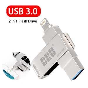 usb stick usb flash drive for iphone ipad pendrive 3.0 64gb usb 32gb 128gb 2 in 1 pen