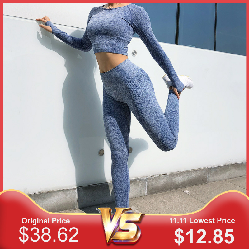2pcs New Seamless Sport Set Women Fitness Clothing Sportswear Woman Gym Leggings Padded Push Up Legging Sports Bra Sports Suits