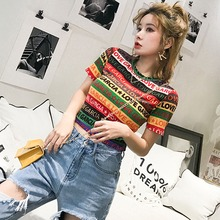 T Shirt Women Letter Printed Colorful Striped Short Sleeve Female Summer Sexy Crop Top Korean O Neck Casual T-Shirt NS
