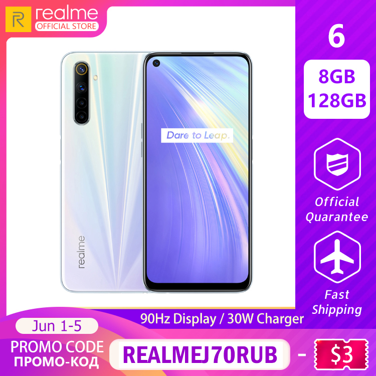 realme 6 8GB RAM 128GB ROM Global Version Mobile Phone 90Hz Display Helio G90T 30W Flash Charge 64MP Camera 4300mAh Cellphone image