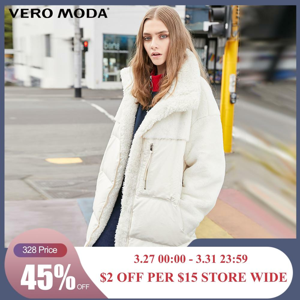 Vero Moda Women's Splicing Furry Fabric Mid-length White Duck Down Jacket | 319423518