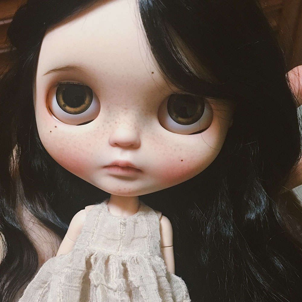 Neo Blyth Doll NBL Customized Shiny Face,black Hair Life Style 1/6 BJD Ball Jointed Doll Blyth For Girl