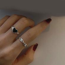 Coração-em forma de coração amor pêssego anel de corrente feminino índice de prata dedo cauda anel ajustável anel de dedo aberto simples festa jóias