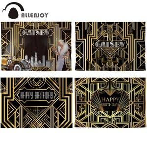 Image 1 - Allenjoy Gatsby Vĩ Đại Nền Vintage Xe Nữ Sinh Nhật Vui Vẻ Phông Nền Photozone Vàng Sang Trọng Trưởng Thành Sự Kiện Đảng Biểu Ngữ