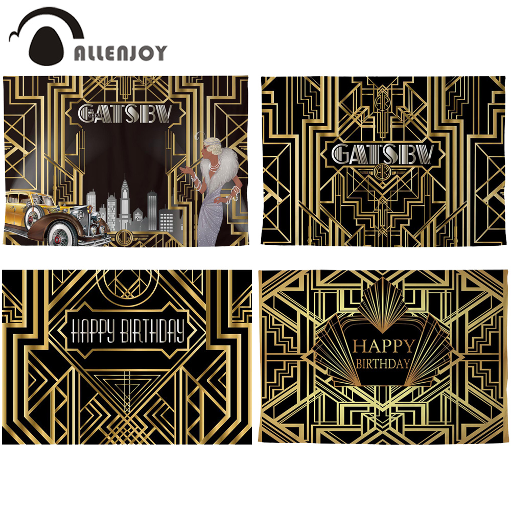 Allenjoy Great Gatsby Background Vintage Car Lady Happy Birthday Backdrop Photozone Golden Luxurious Adult Event Party BannerParty Backdrops   -