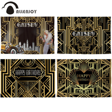 Allenjoy Great Gatsby Background Vintage Car Lady Happy Birthday Backdrop Photozone Golden Luxurious Adult Event Party Banner