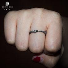 Bem oi ben men's ouroboros esqueleto cobra anel 925 prata esterlina design original feito à mão motociclista punk escuro