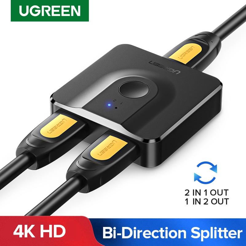 Ugreen hdmi divisor 4k hdmi switch para xiaomi mi caixa bi-direção 1x 2/2x1 adaptador hdmi switcher 2 em 1 para fora para ps4 hdmi switch