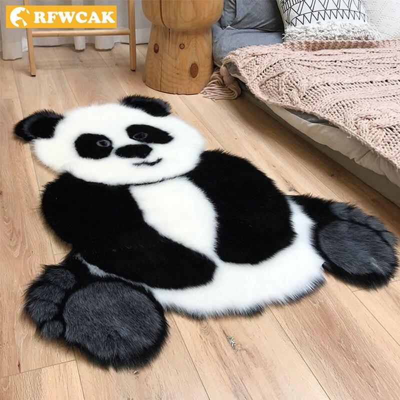 Panda Pattern Shaggy Carpet Imitation Leather Fur Rug Animal Shape Area Rug Carpets For Living Room Mat Tapete Kids Room Decor