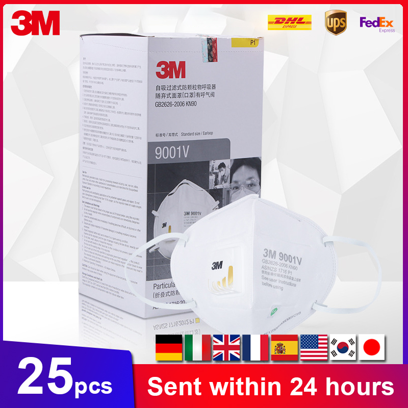 3M 9001V Mask 25PCS/BOX Anti-PM2.5 Particulate Working Respirator Dust With Cool Flow Valve Breathable 3M 9002V Face Masks