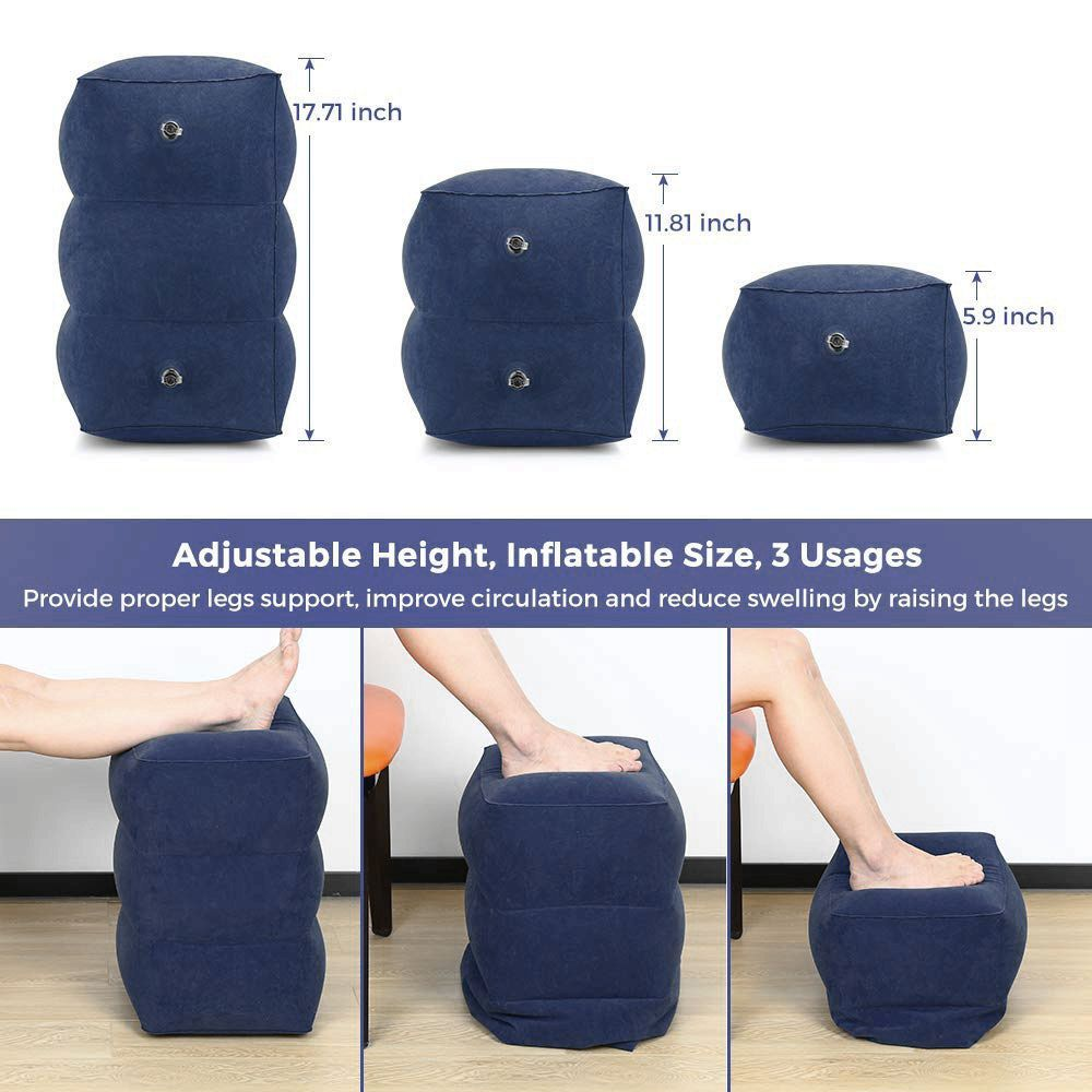 Travel Inflatable Foot Rest Pillow Adjustable Height Portable Leg Rest Pillow Cushion Carrying Bag Airplane Home Car Office Foot