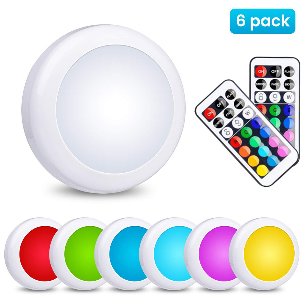 New Wireless LED Under Cabinet Light Dimmable Touch Sensor LED Puck Lights RGB 13 Colors For Close Wardrobe Hallway Night Lamp