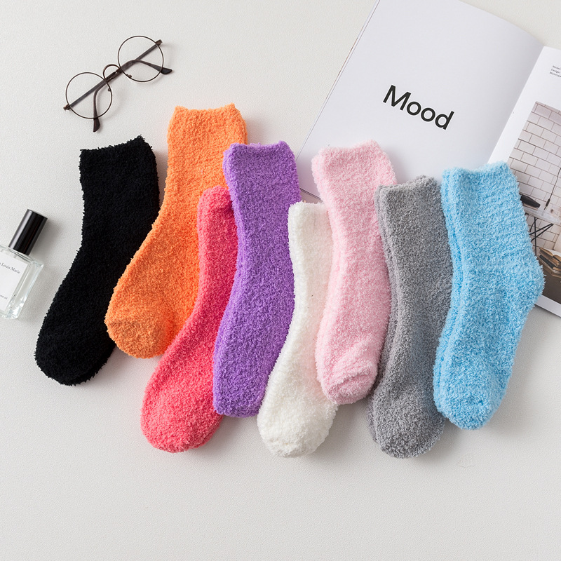 Winter Half Flannel Mid-tube Women Socks Cotton Coral Velvet Solid Color Thickened Warm Socks Female Pink And Cute 175