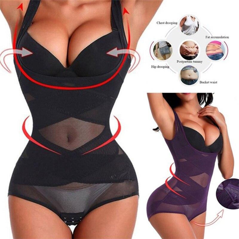 2019 Women Slimming Body Shaper Waist Trainer Underbust Underwear Solid Ladies Strap Bodysuits Corset Shapewear