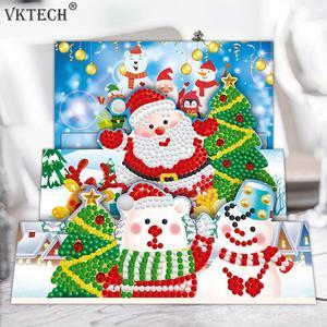 8 шт. DIY Алмазная картина поздравительная открытка специальная часть дрель мозаика Счастливого Рождества Вышивка Набор Санта рождественские открытки|Алмазная мозаика|   | АлиЭкспресс