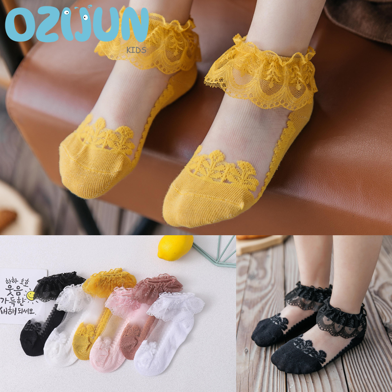 New Arrivals 2020 Spring Summer Baby Girls Lace Ultra-Thin Mesh Crystal Socks Solid Color Invisible Socks Kids Girls Princess
