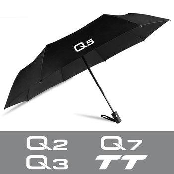Dla Audi Q5 8R 35 40 55 TFSI e 2 0T 3 0T L4 V6 Q2 Q7 TT Auto Logo akcesoria samochodowe w pełni automatyczny kompaktowy składany parasol tanie i dobre opinie CN (pochodzenie) Stop aluminium tube Black Aluminum Alloy Tube+ Oxford 28-56 CM 98 5CM Open Auto Accessories For Q2 Q3 Q5 Q7 TT