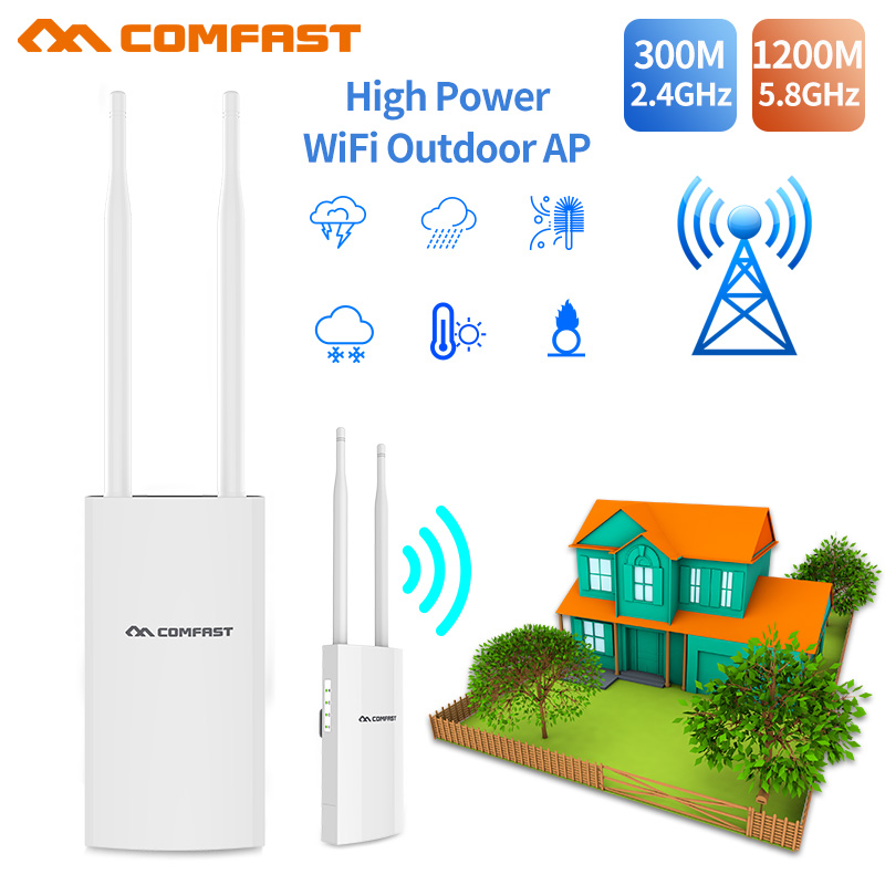 High Power 300-1200Mbps Outdoor Wireless Wifi Repeater AP/WIFI Router 1200Mbps Dual Dand 5Ghz Long Range Extender PoE Nanostatio